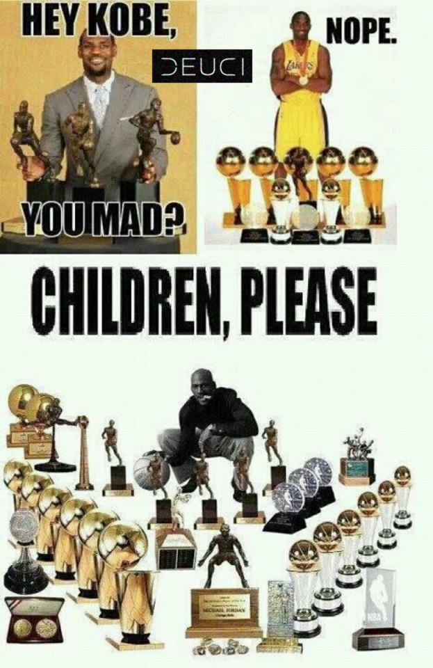 mj lebron kobe you decide If you look at basketball, you can see greats coming along every few years (or at the same time, like byrd and magic) then jordan, then kobeand now james but it seems like it gets longer and longer between greats, or that expected greats aren't around as long (or all that great.